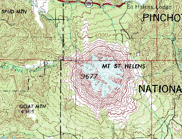 Mt St Helens Before and After Maps TopoZone