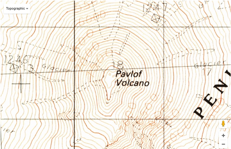 Alaska Map Volcano.Map Of Pavlof Volcano Eruption In Alaska Topozone